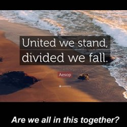 United we stand, divided we fall - is it time for a Eureka moment?