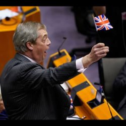 Nigel Farage waves a Flag and waves Goodbye to the EU.